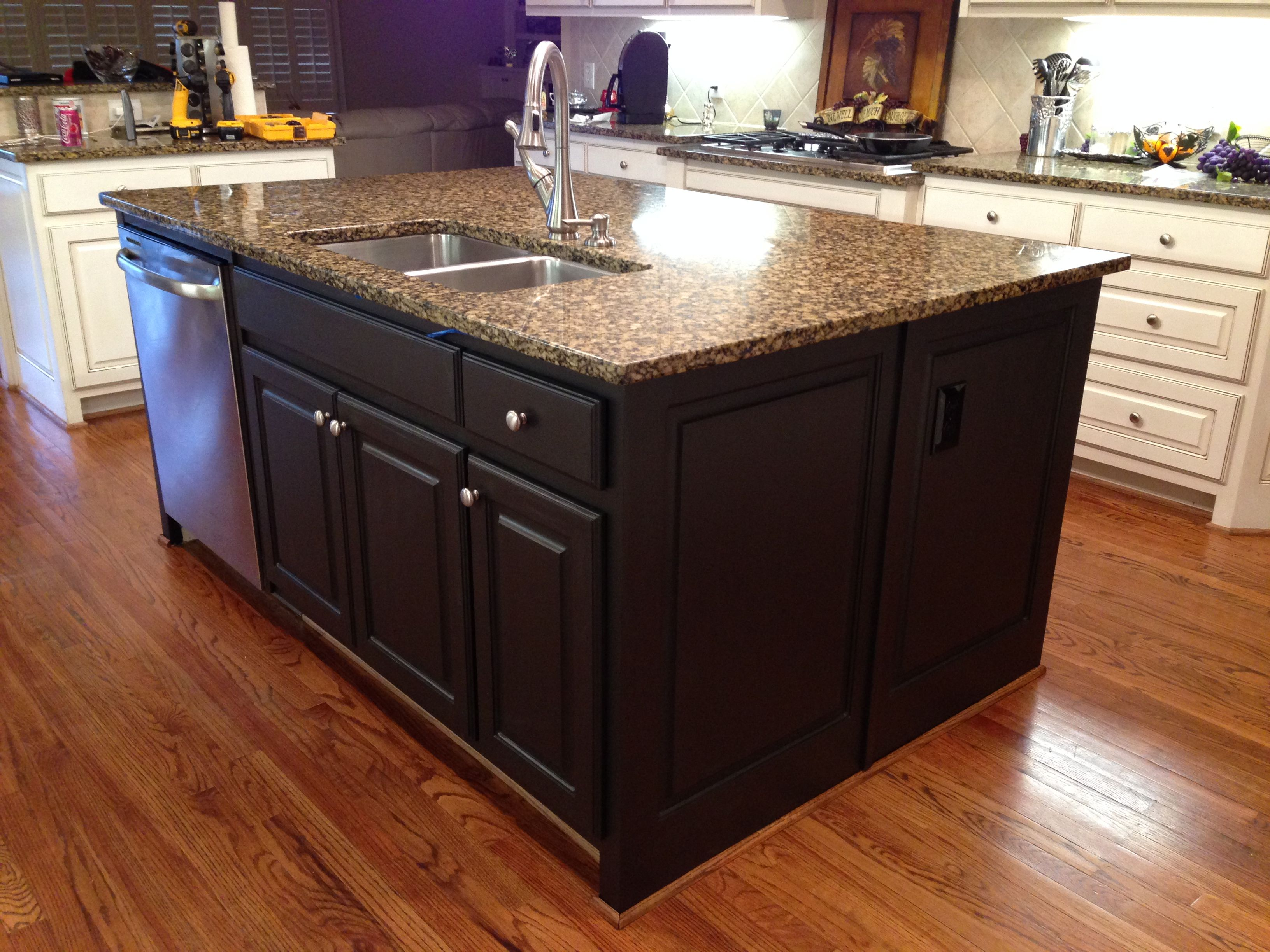 My kitchen island after painting it with rustoleum 39 s - Change kitchen cabinet color ...