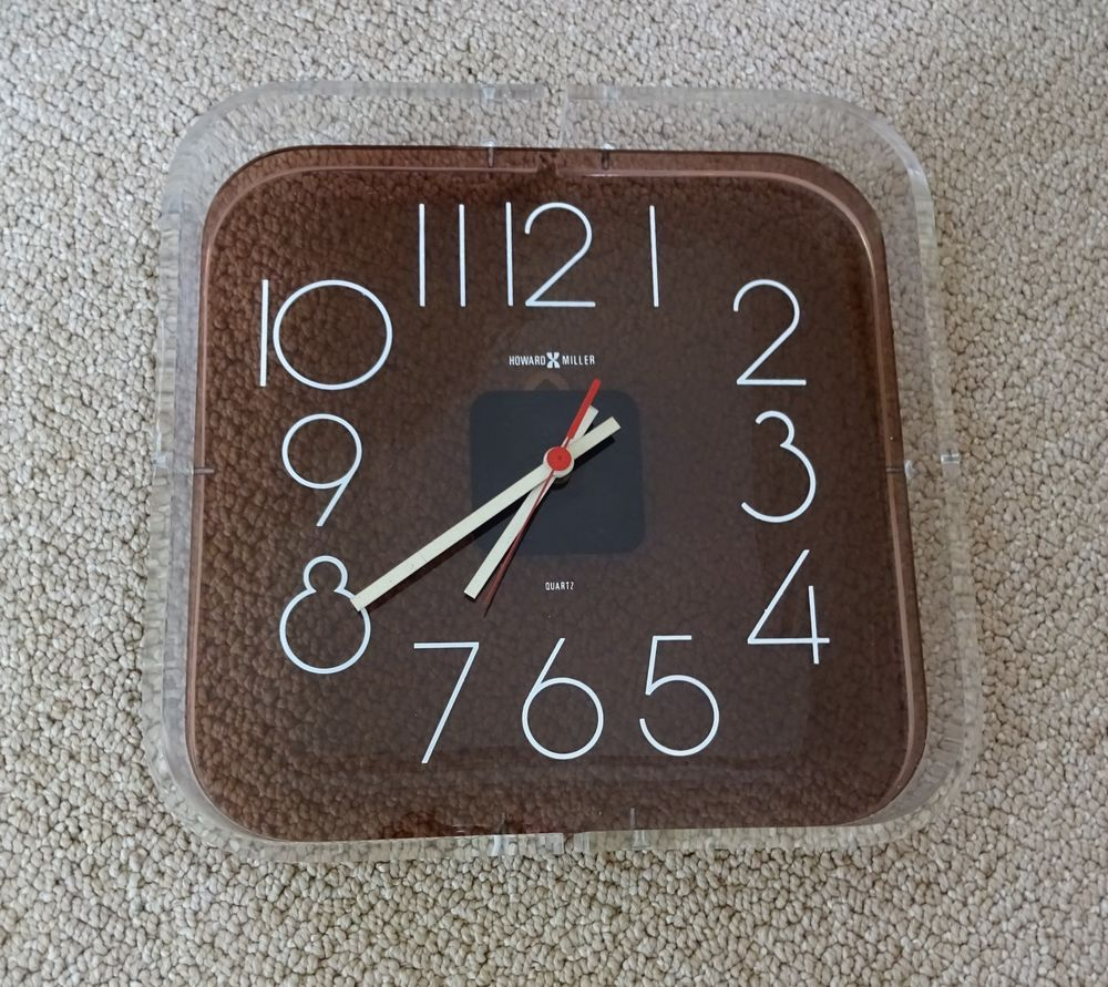 Vintage Howard Miller Mid Century Modern Lucite Wall Clock Mid Century Wall Clock Mid Century Clock Clock