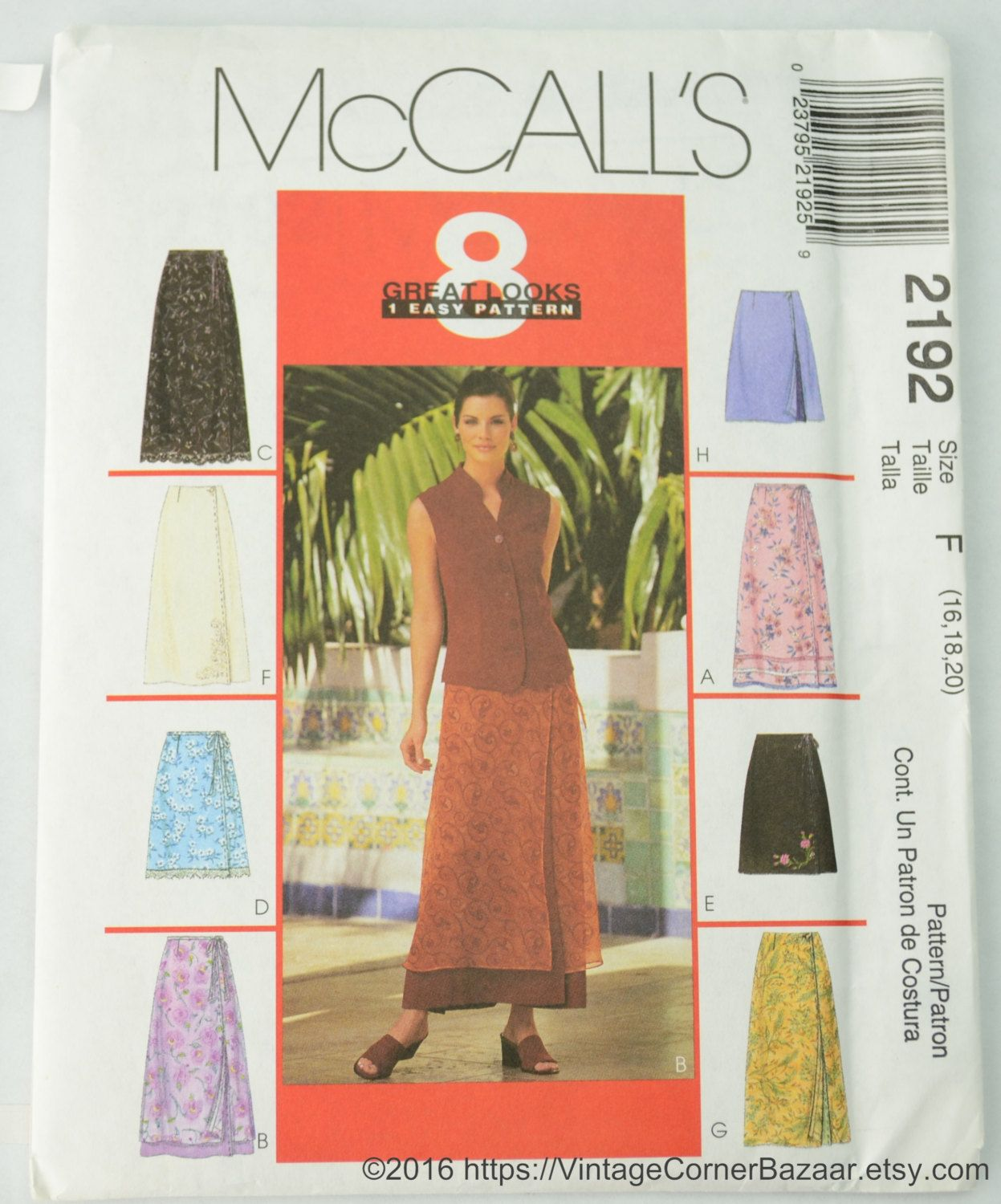 Mccall S 2192 Pattern Misses Wrap Skirts In Two Lengths Sewing