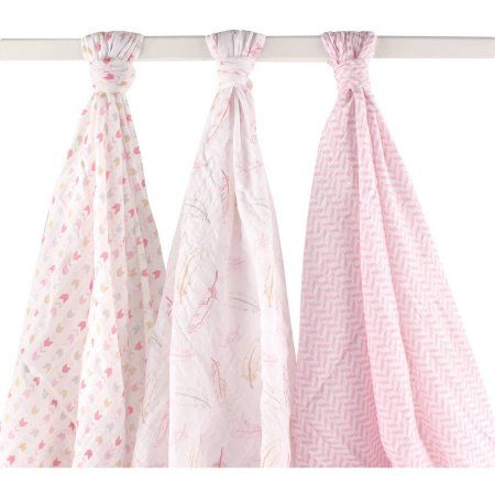 Hudson Baby Boys' and Girls' 3-Pack Muslin Swaddle Blanket, Choose Your Color, Pink