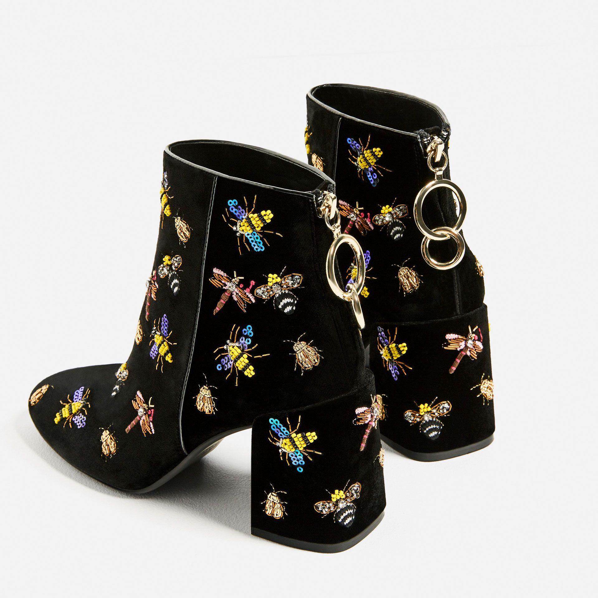 zara - femme - bottines en velours avec verroteries | :: outfit
