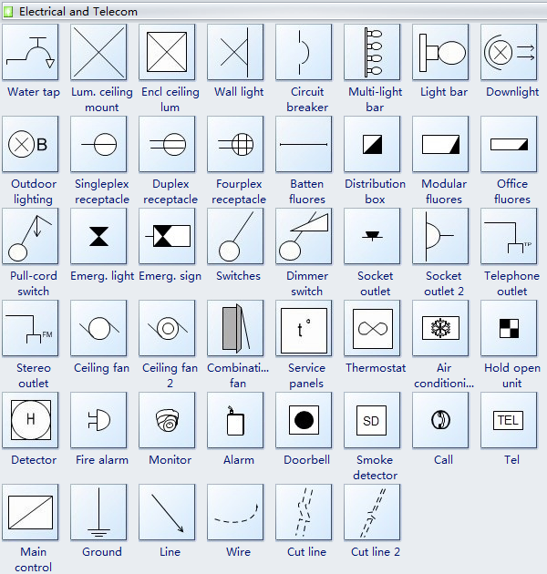 Reflected Ceiling Plan Symbols Electrical-Telecom | #electrical ...