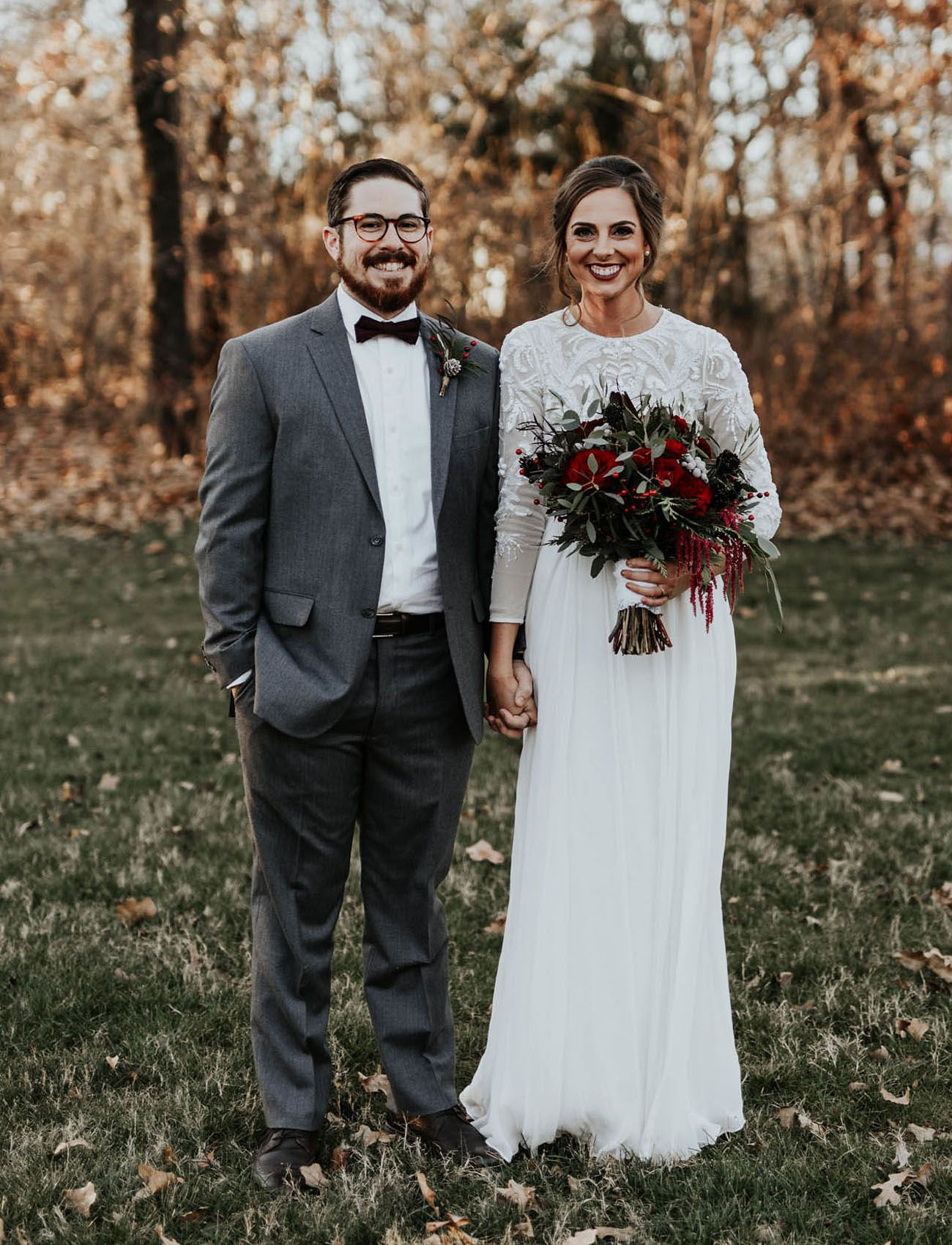 The Bridesmaids Wore Burgundy In This Laid Back Winter Wedding