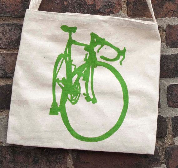 Shoply.com -Bicycle Art Tote Bag - Musette - Green Road Bike Bag. Only $18.00