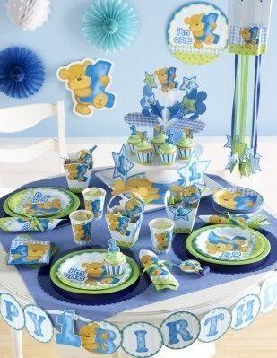 1 geburtstag blauer teddy jungen party deko ideen erster geburtstag 1 geburtstag junge. Black Bedroom Furniture Sets. Home Design Ideas