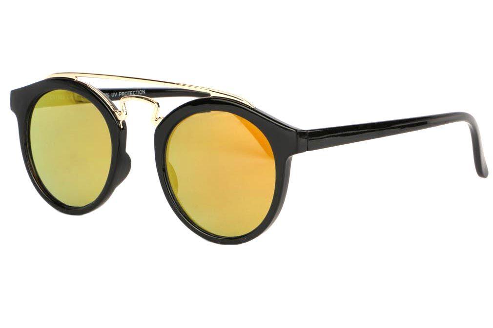 Jolies lunettes soleil rondes miroir doré Klaky de la collection Spirit of  Sun, lunettes soleil femme et homme fashion monture ronde noire et verre  reflet ... cc8dcf474cd5