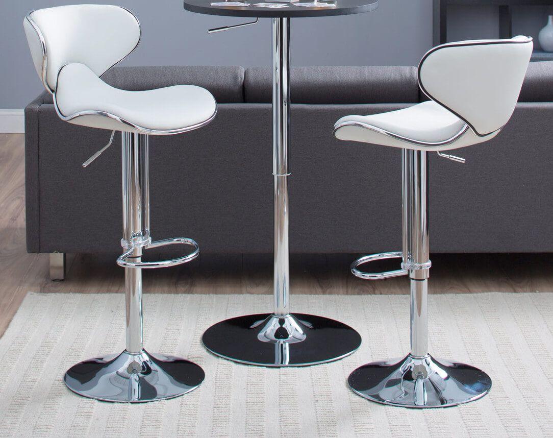 Nuevo Palma 37 75 Bar Stool Upholstery White White Leather Bar