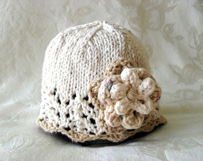 Baby Hats Knitting Knitted Baby Cloche with Rose Cotton Knitted Baby ...