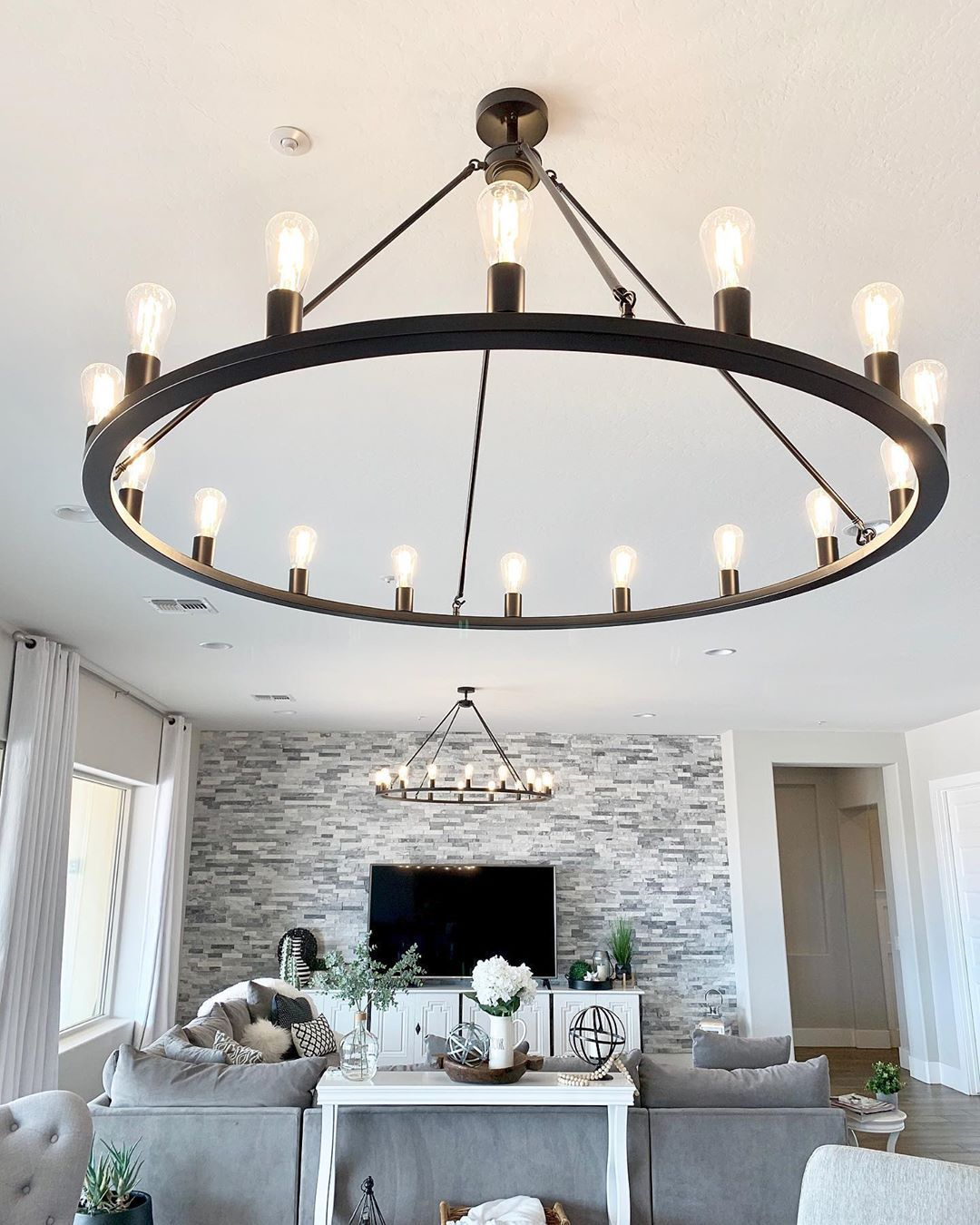 Modern Farmhouse Glam On Instagram Grand Lighting Fixtures Make All The Difference Don T You Think And Two Are Iron Chandeliers Round Chandelier Chandelier
