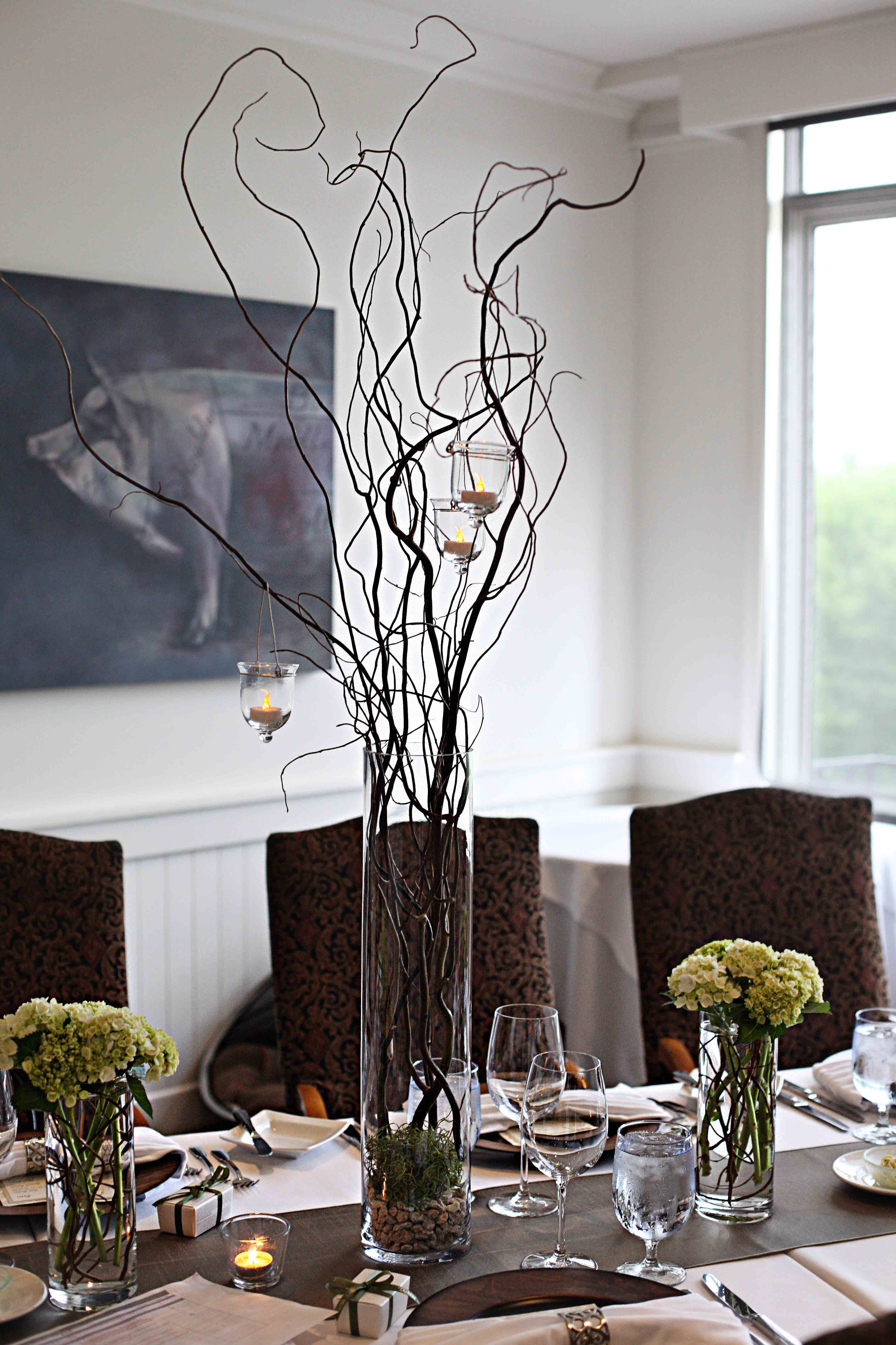 Rustic Elegance  Tall Curly Willow Table Centerpiece With Hanging