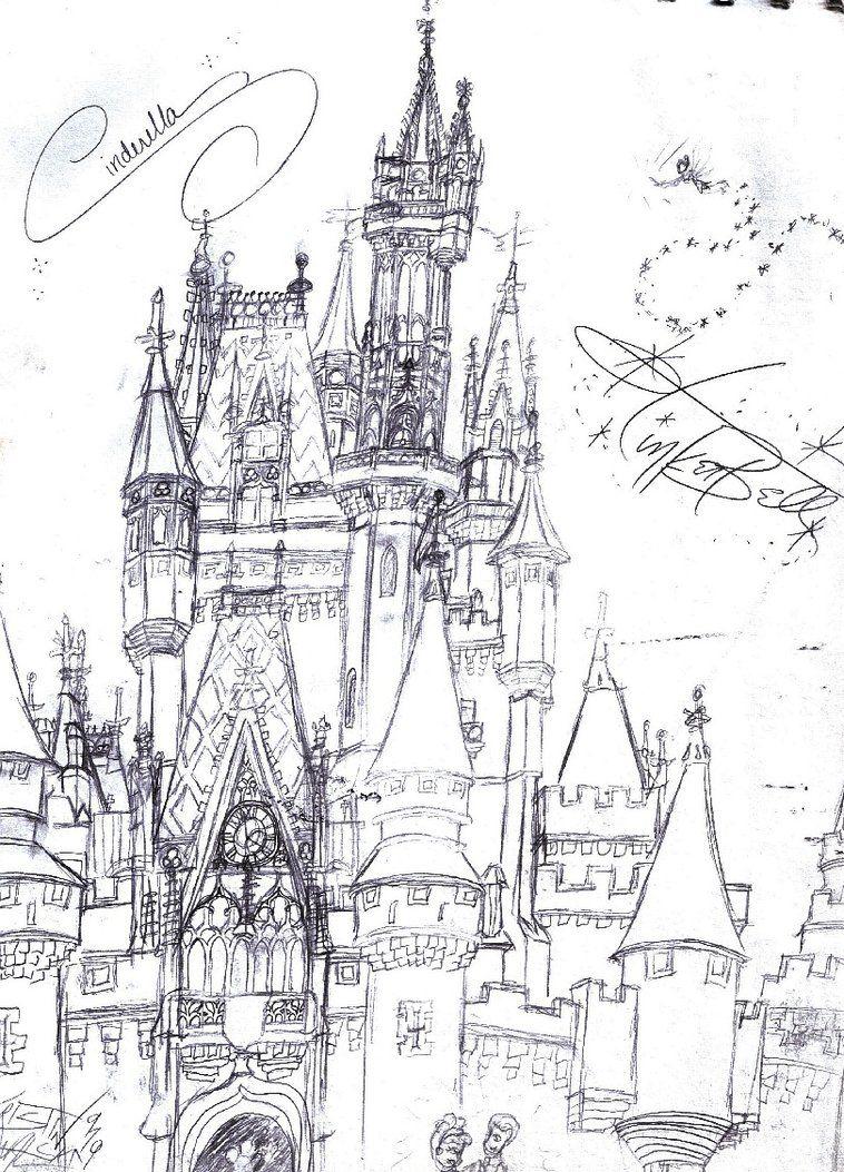 Cinderella S Castle Sketch By Neosun7 On Deviantart Castle Sketch Disney Castle Disney Art