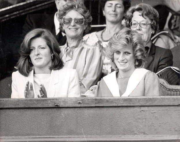 Princess Diana with her sister, Lady Jane Fellowes at Wimbledon in 1984. Jane's daughter L...