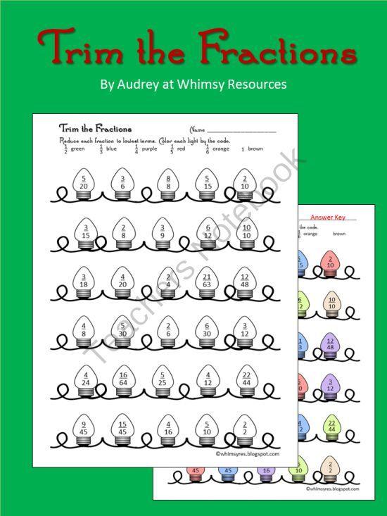 Christmas Fraction Worksheets Christmas Math Worksheets Reducing Fractions Fractions
