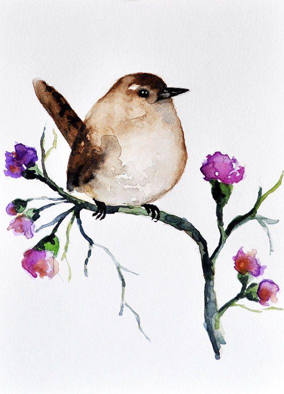 Aquarelle originale de Sparrow et fleurs / art aviaire 6 x 8 pouces