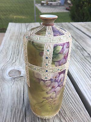 Antique Nippon Floral Design Porcelain Vase Hand Painted