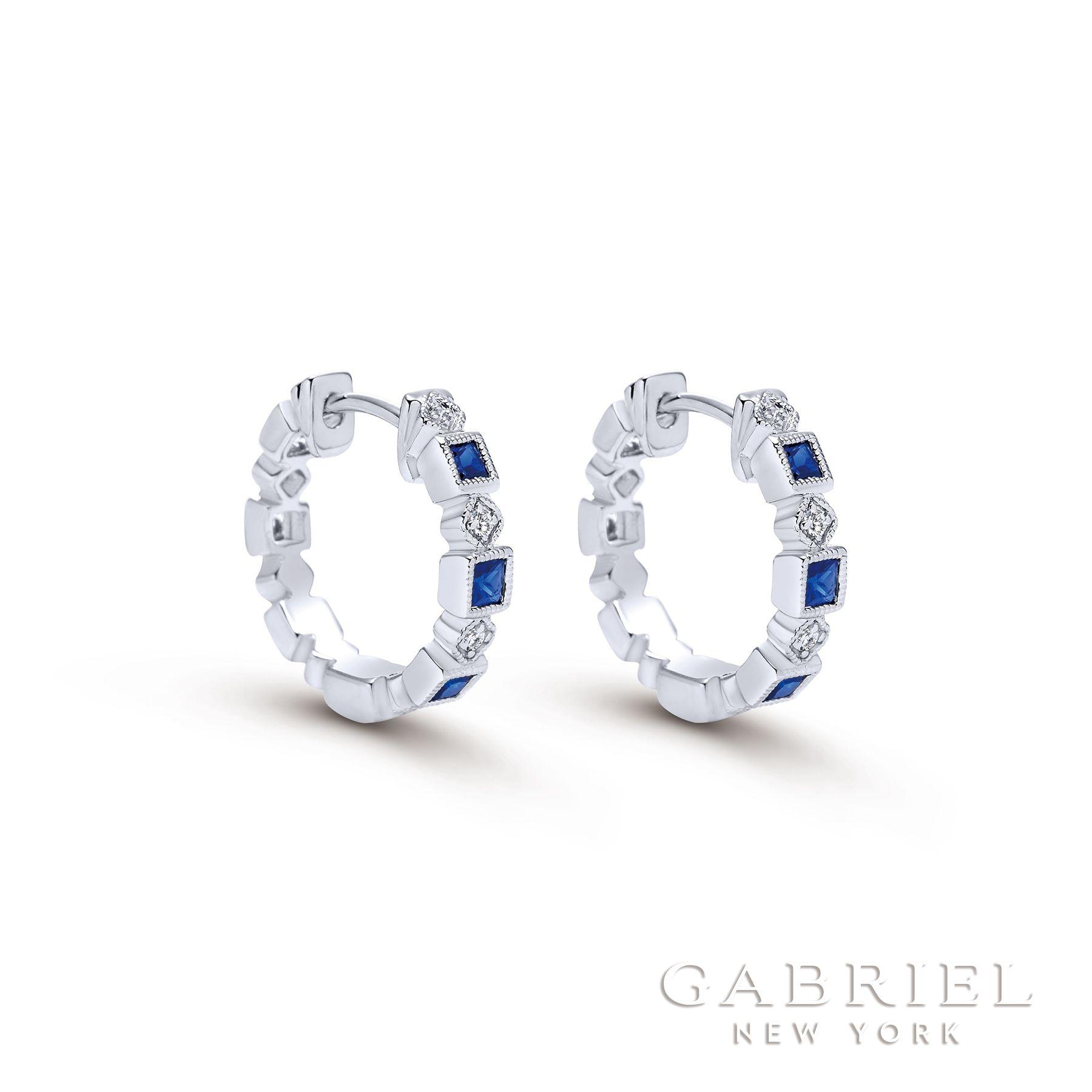14k White Gold Princess Cut Huggie Diamond A Quality Sapphire