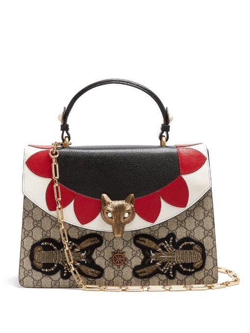 Explorez Sacs À Bandoulières Métalliques et plus encore ! Gucci Broche GG  Supreme leather shoulder bag 4173db4c1da