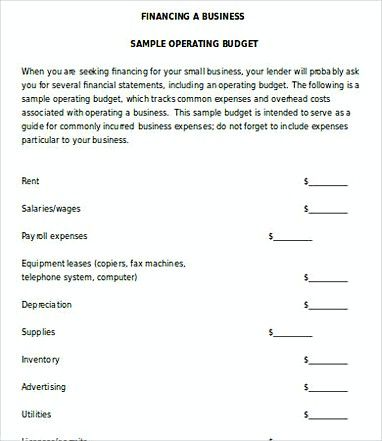 Small Business Operating Budget Template , 14 Small Business Budget