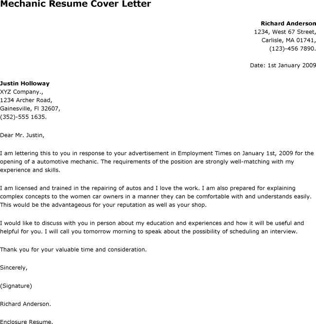 sample mechanic cover letters for resumes Parlobuenacocinaco