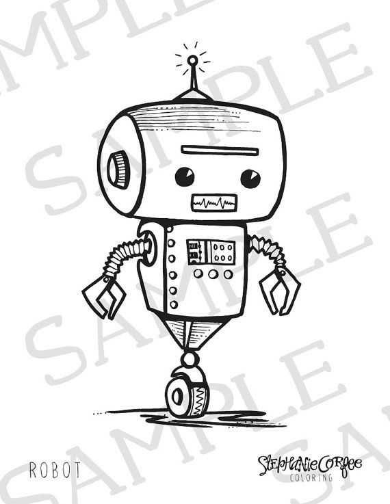 Robot Coloring Page Instant Digital Download Easy Coloring