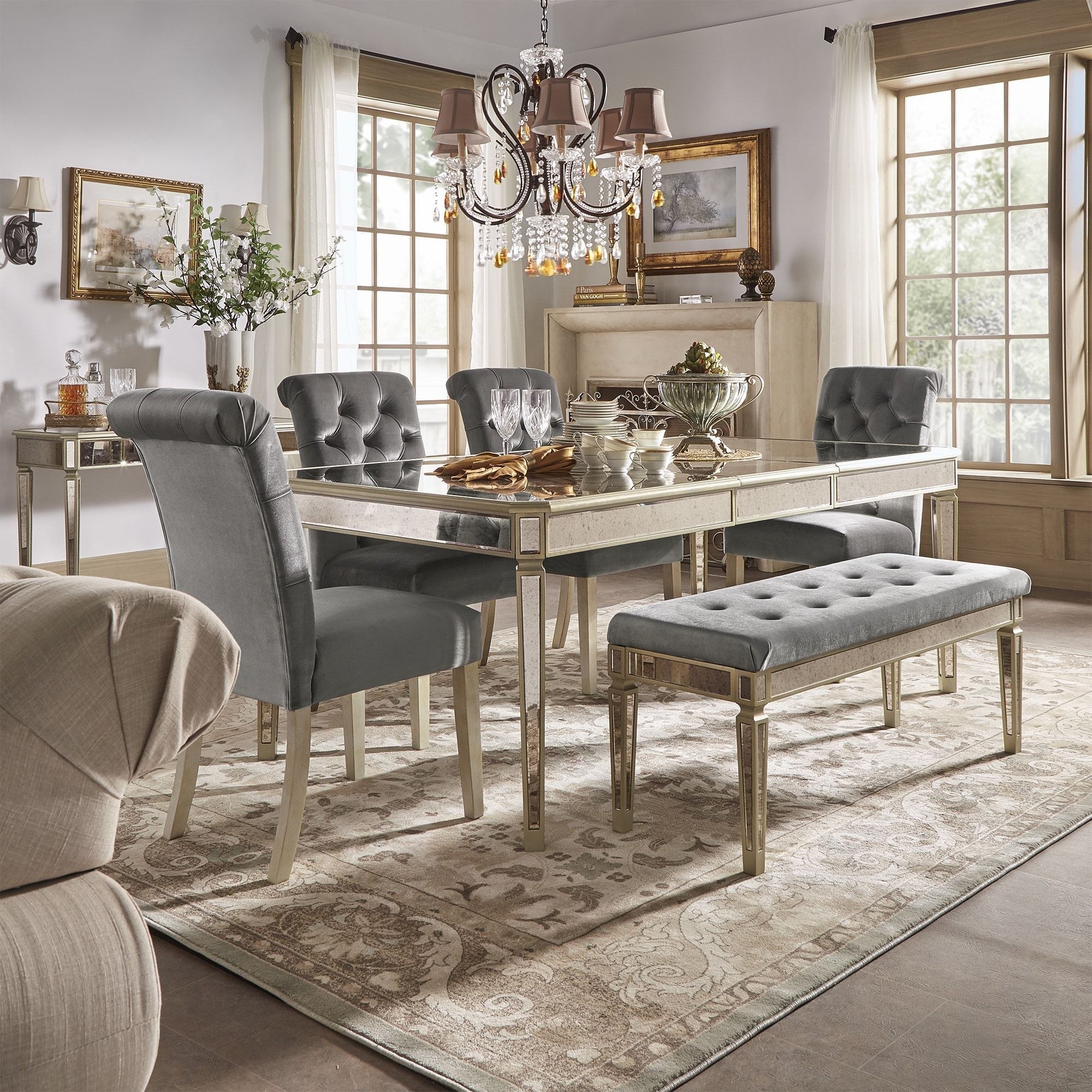 Clara Silver Velvet And Antique Gold Mirrored Dining Set By Inspire