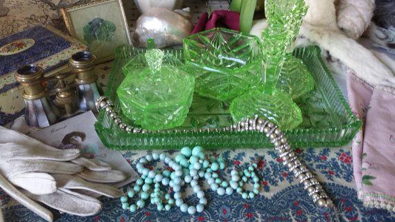 Vintage 1930's Green Glass Dressing Table by NostalgiqueBoutique