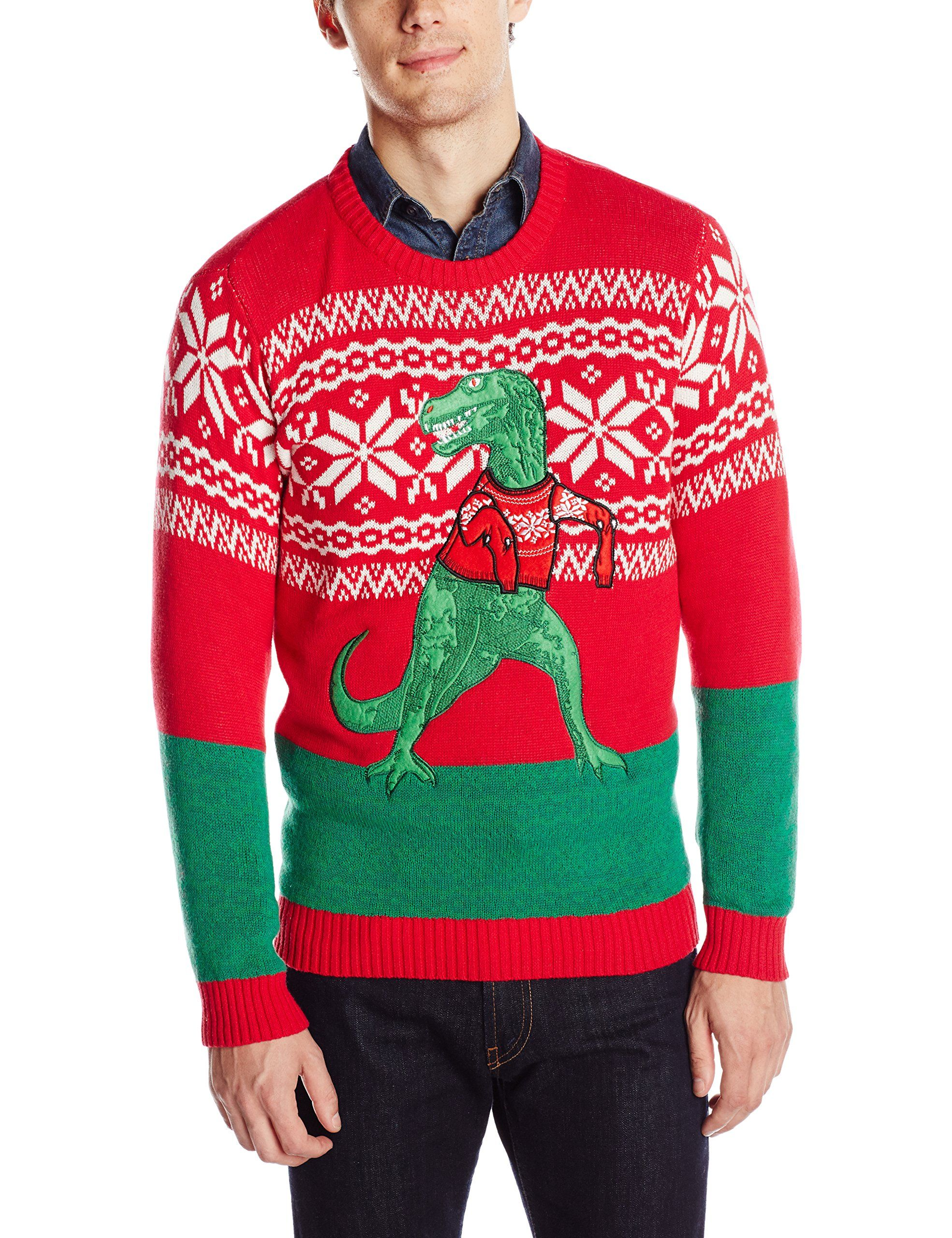 Blizzard Bay Mens Trex Hates Sweater Ugly Christmas Sweater Red