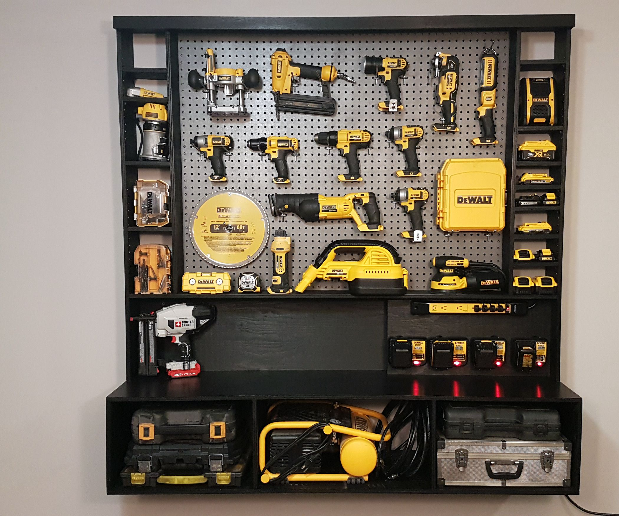 Diy Power Tool Storage W Charging Station Tool Wall Storage Tool Storage Diy Power Tool Storage