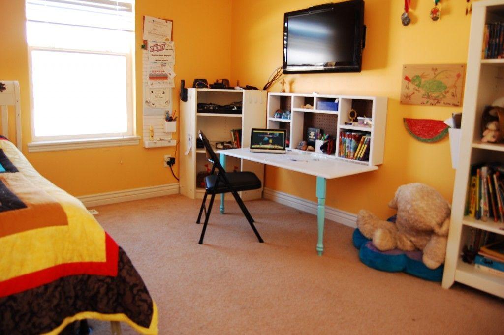 Diy kids homework hideaway wall desk kids rooms diy diy