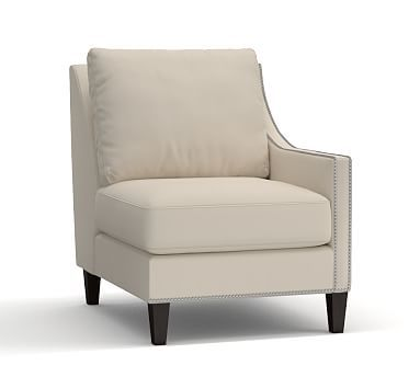 Pasadena Upholstered Right Arm Chair, Polyester Wrapped Cushions, Organic Cotton Canvas Natural