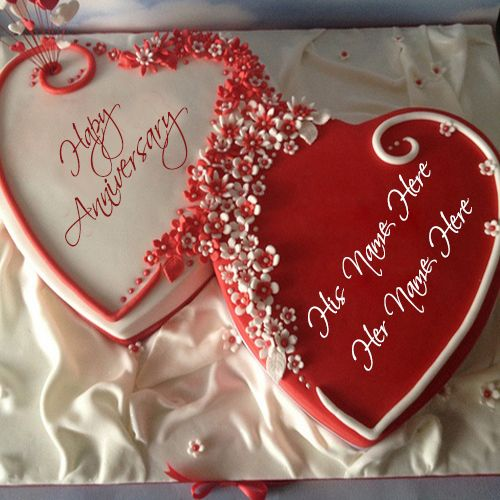 Heart Shape Anniversary Cake Pics With Name Wishes Greeting Card