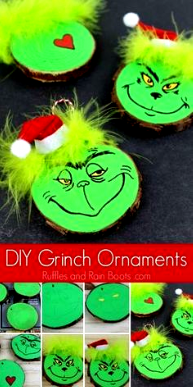 This fun DIY Grinch ornament set is perfect for any Christmas tree. Click through to see our easy tutorial (and another kid-friendly Grinch ornament)! #Grinch #TheGrinch #Christmasornaments #DIYChristmas via @momtoelise