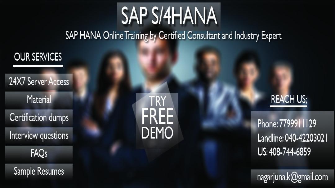 SAP HANA & SAP S4 HANA Online Training on Live Projects by