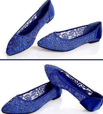 8654377c8448d sapphire blue flats | Dream Wedding | Ballet wedding shoes, White ...
