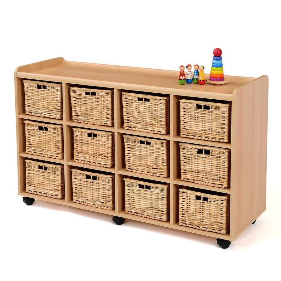 Storage Unit With 12 Deep Wicker Baskets Babies Toddlers Early Years To Primary Ideas Nursery Supplies Storage Wicker Tray
