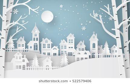 Ähnliche Bilder, Stockfotos und Vektorgrafiken von Frohe Weihnachten und glückliches neues Jahr. Illustration des Weihnachtsmannes am Himmel, der in die Stadt kommt, Papier-Kunst und digitale Handwerkskunst - 522579127