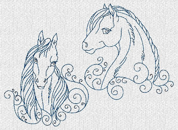 Redwork Embroidery Designs To Download | INSTANT DOWNLOAD Horses Bluework Redwork by embroiderygirl