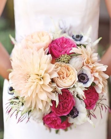 Mixed garden roses, dahlias, anemones, and astilbe bouquet