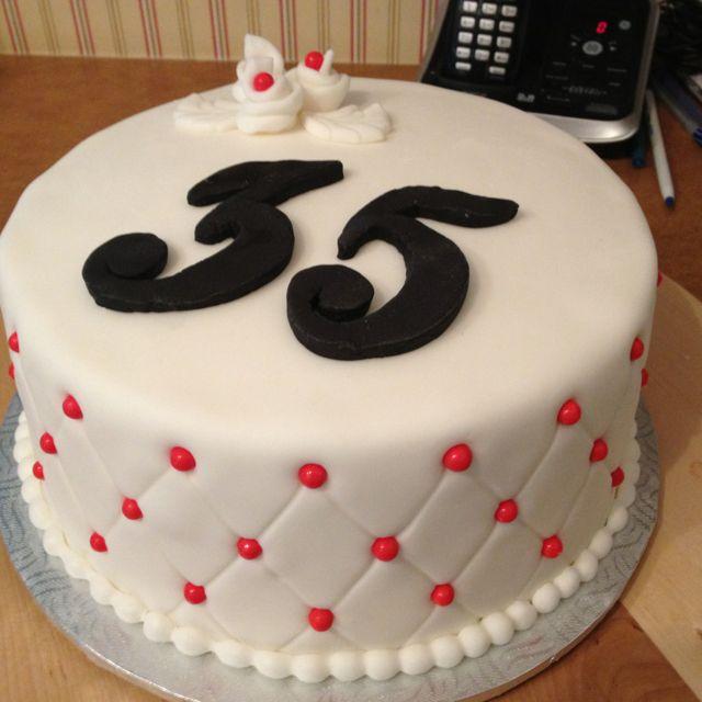 G teau 35e anniversaire de mariage en fondant mes - Anniversaire de mariage 16 ans ...