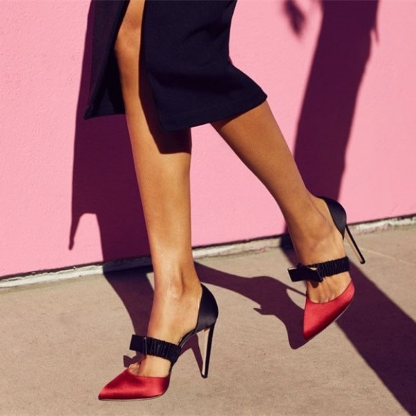 Red and Black Satin Pointed Toe Stiletto Heels Pumps for Work | FSJ