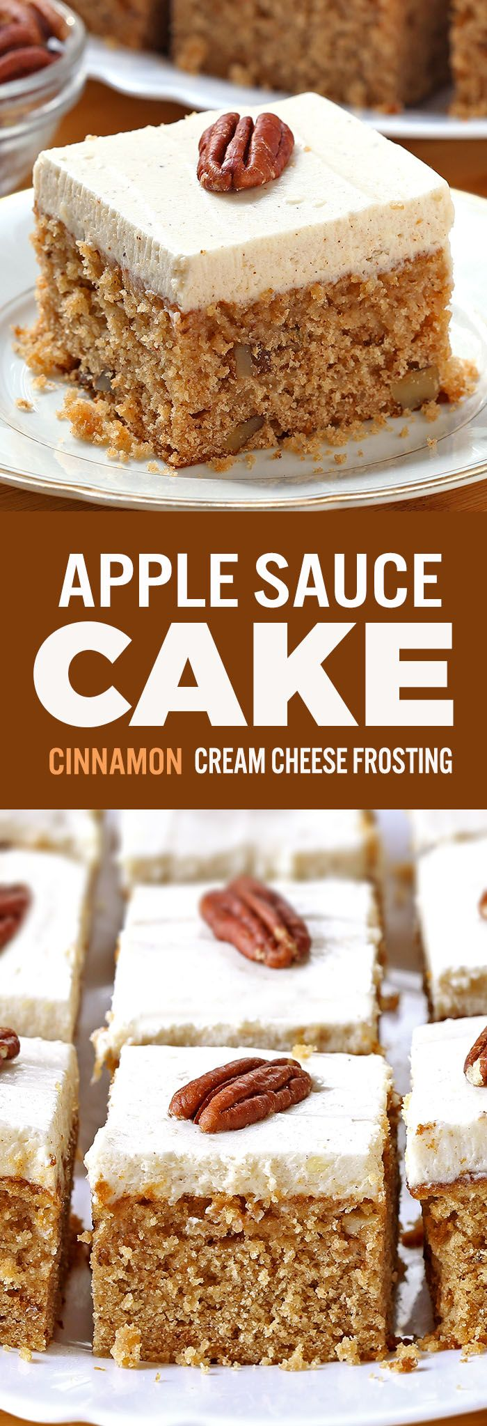 Applesauce Cake with Cinnamon Cream Cheese Frosting - Sugar Apron