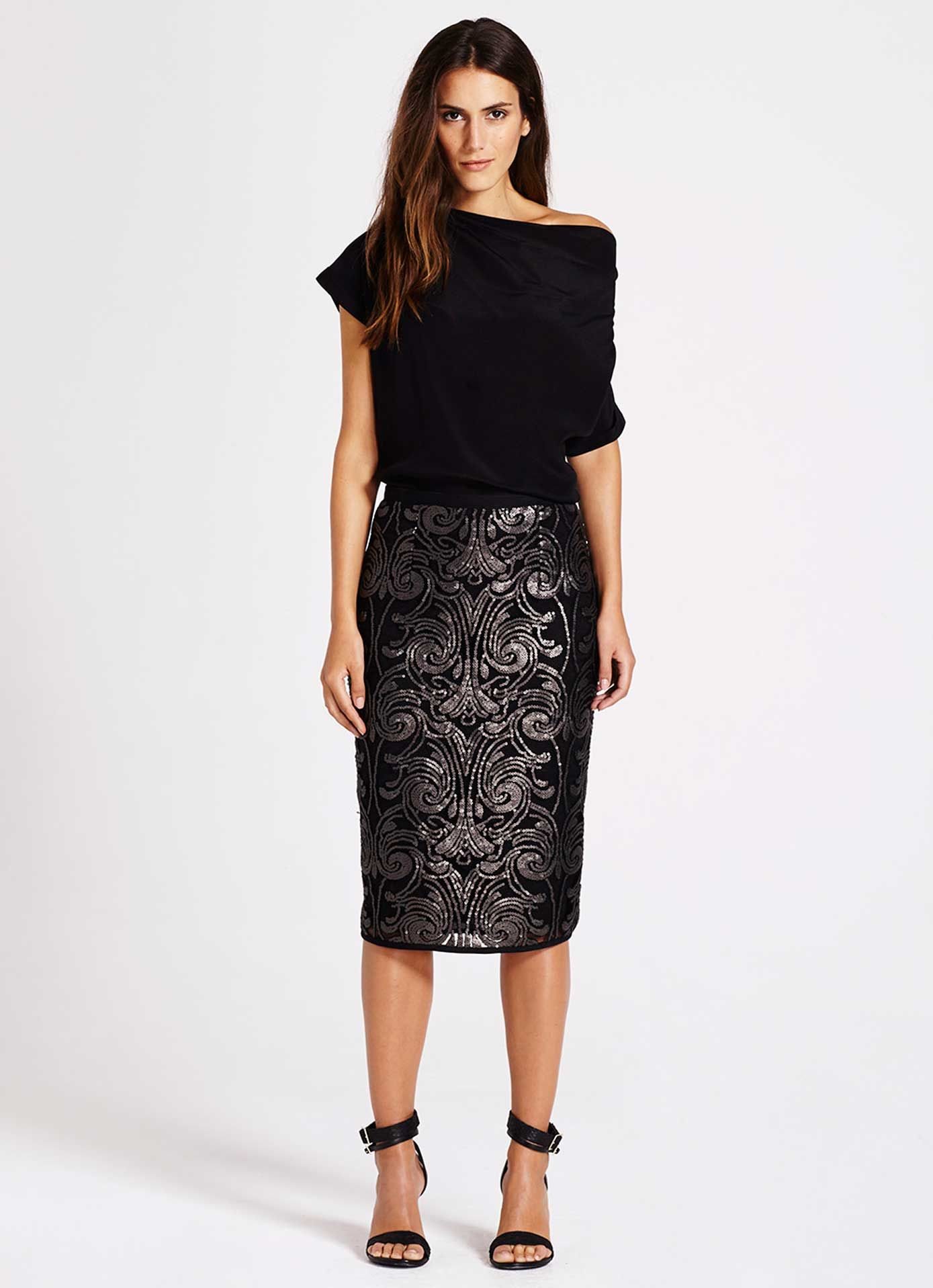 e7cacd5af9d0 Baroque Sequin Pencil Skirt in 2019 | Fashion | Sequin pencil skirt ...
