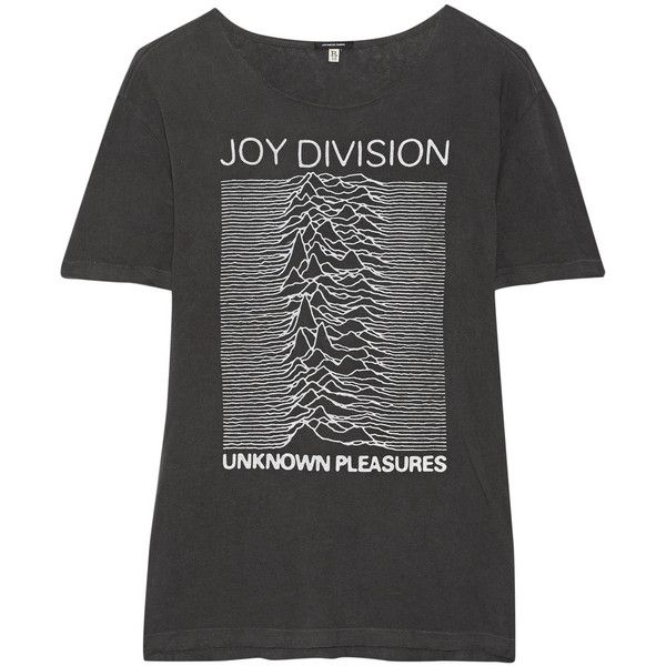 R13 Joy Division printed cotton-blend jersey T-shirt (£190) ❤ liked on Polyvore featuring tops, t-shirts, t shirt, grey, vintage tees, vintage tops, oversized t shirt, vintage t shirts and grey top