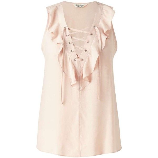 Miss Selfridge Nude Lace Up Ruffle Shell (35.685 COP) ❤ liked on Polyvore featuring tops, shirts, nude, pink sleeveless shirt, lace up shirt, ruffle tank top, sleeveless tank and sleeveless tank tops