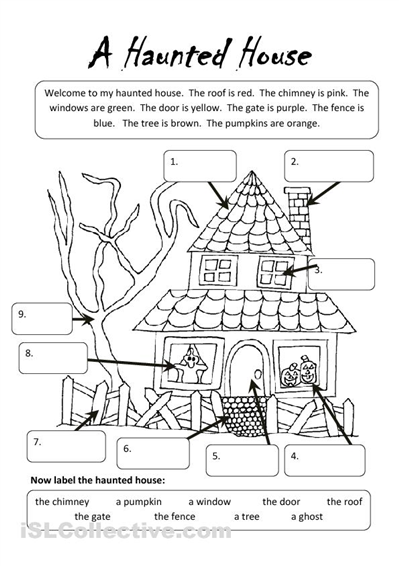 math worksheet : a haunted house worksheet  islcollective free esl  : Esol Worksheets
