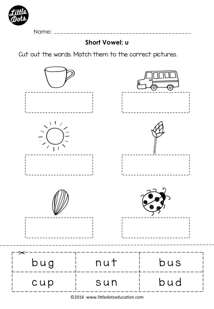Free short vowel u worksheet for preschool or kindergarten class ...