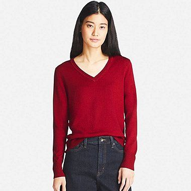WOMEN EXTRA FINE MERINO V-NECK SWEATER, RED, medium | Tops ...