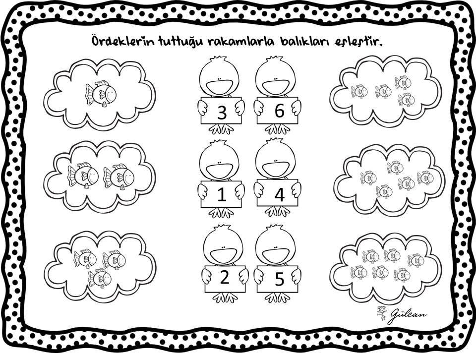 Eslestirme Rakam Okuloncesi 6 Alti Matematik Evde Okul
