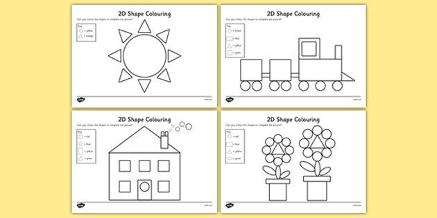 colour by 2d shapes colour 2d shapes 2d shapes colouring - Shape Pictures To Colour