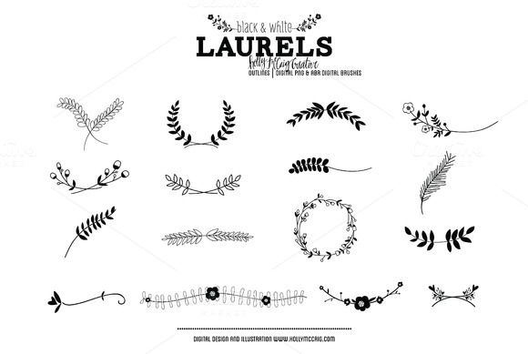Check out Laurels PNG Photoshop Brush Clipart by Holly McCaig Creative on Creative Market